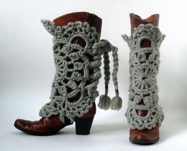 #Crochet cowbot boots covers via @knithacker