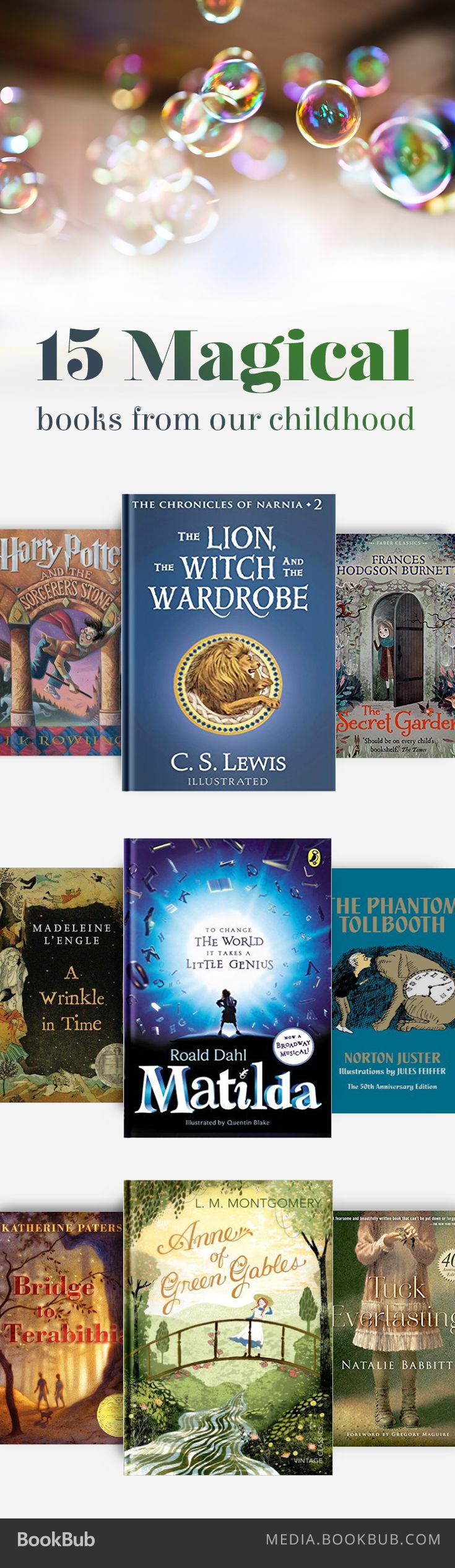 15 of the most magical books from our childhood, including The Lion, the Witch, and the Wardrobe by C. S. Lewis.