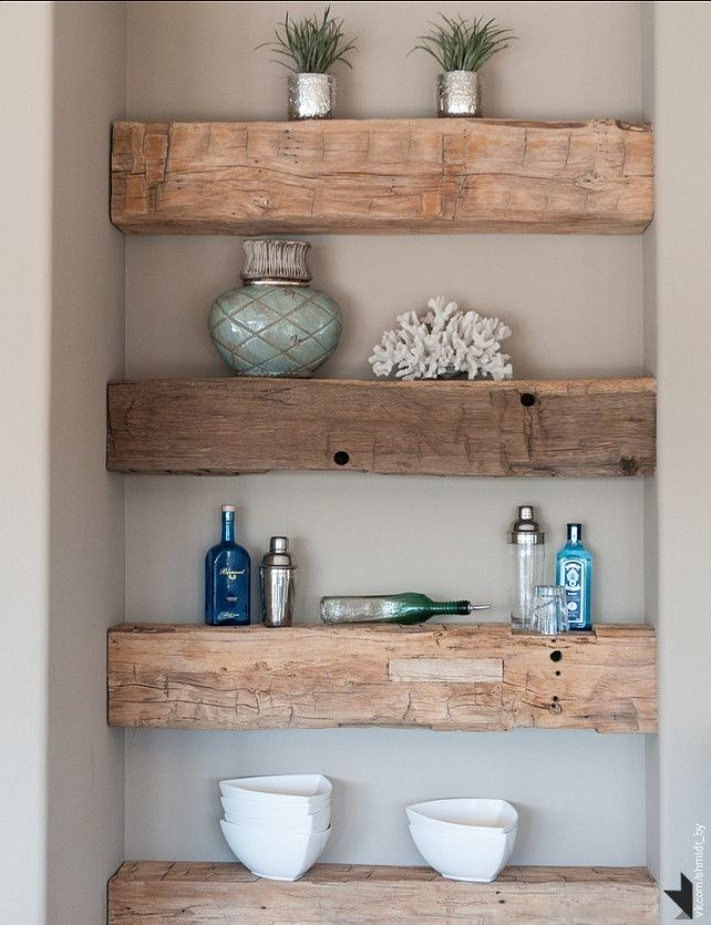 rustic wood shelves with rustic oak vanity OR more refined painted/ tile version with white painted vanity
