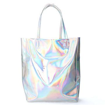 Women Silver Tote Bags Casual Shoulder Bags Capacity Shopping Bags - US$19.99