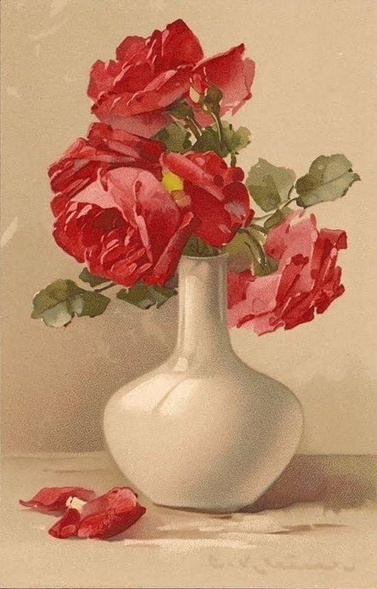 Новый, открытка с вазой и цветами