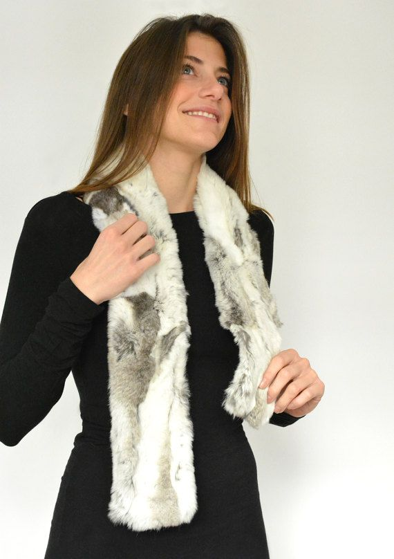 Women's Handmade White Gray Fur scarf made with by lefushop