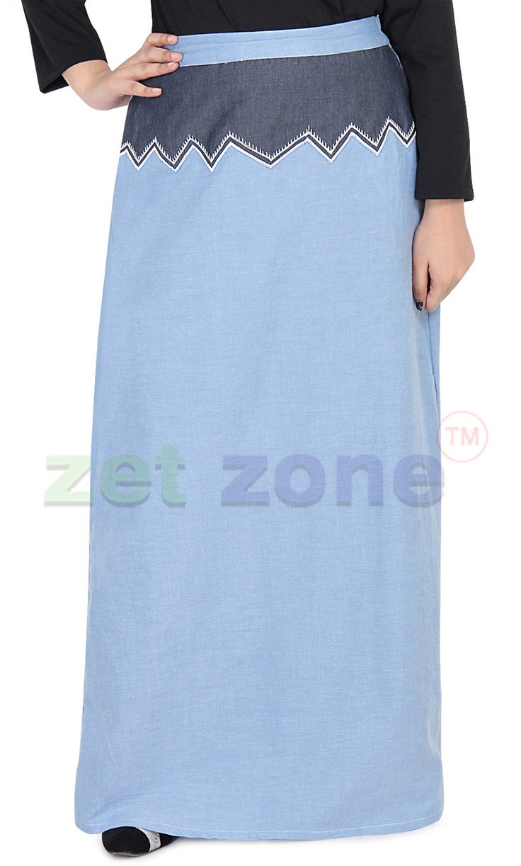 Modest Long Skirt For Women || Add a stylish twist to your casual look wearing this two tone skirt from Zet Zone. Simple and classy in design, this A-line skirt is also extremely soft against the skin, courtesy the fine 100% cotton fabric. This long skirt will surely impress you instantly. | Shop Now » https://www.zetzone.com/women/islamic-clothing/Skirt%20/Ice-Blue-Embroidered-Skirt.html
