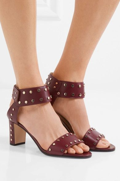 Jimmy Choo - Veto Studded Leather Sandals - Claret - IT39.5