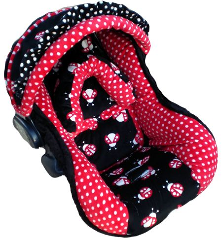 Image detail for -Black and Red Ladybugs Infant Car Seat Cover for Girls - Girly Car ...