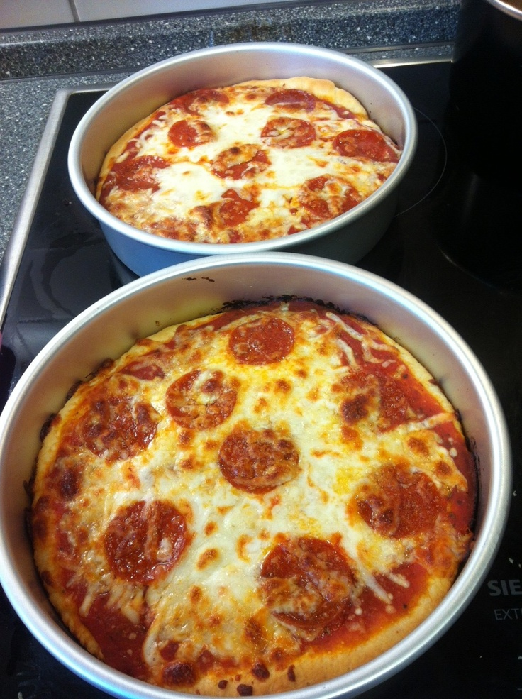 copycat Pizza Hut personal pan pizzas. It is an exact copy of the real thing!