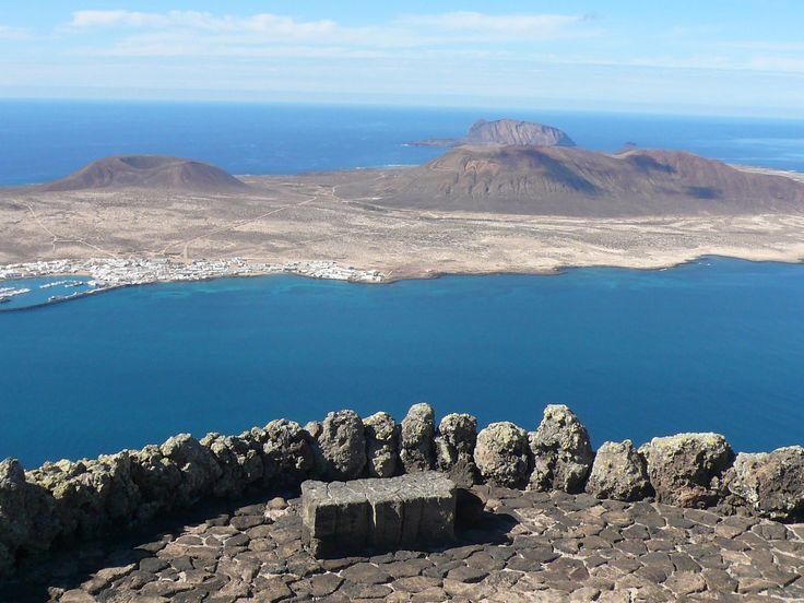 "The amazing Mirador del Rio. ""The Rio"" or river is the name given to the stretch of ocean between Lanzarote and La Graciosa."