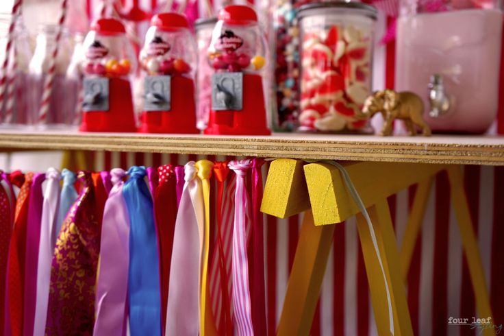 Yellow trestle Carnival candy table | Four Leaf Styling