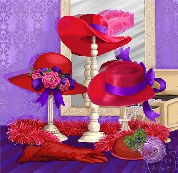 #RED AND PURPLE #RED HATS #RED HAT SOCIETY