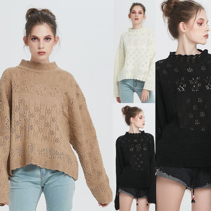 Autumn Fashion Women Long Sleeve Slim Tops Casual Lady Loose Knitted Hole Blouse