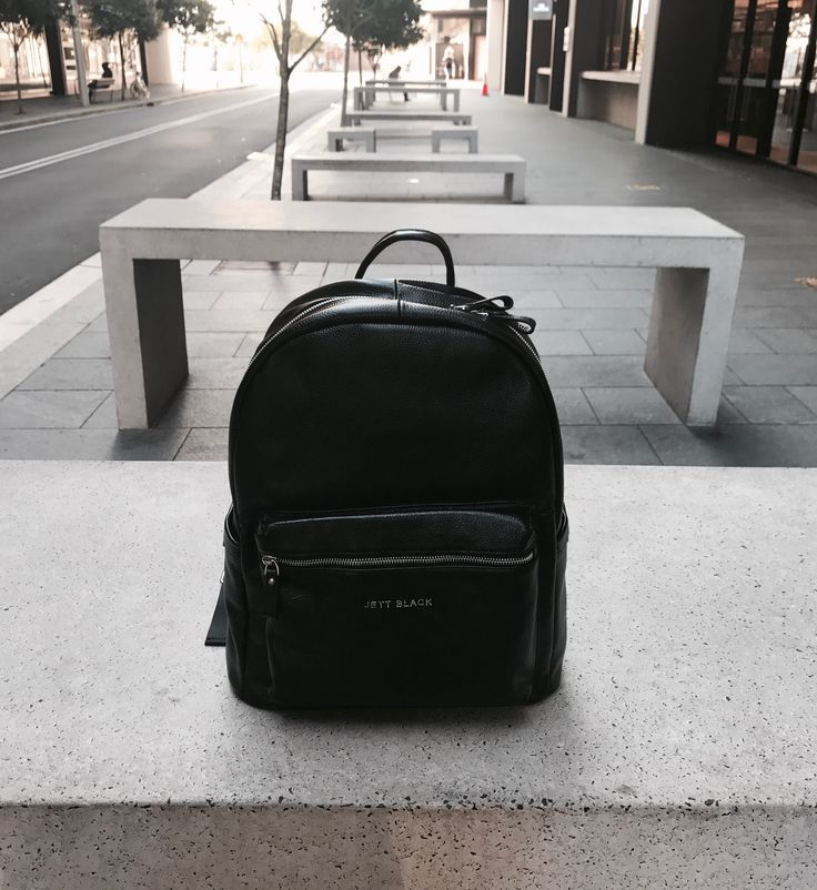 JETT BLACK Leather Back Pack. #BlackLeather #Backpack