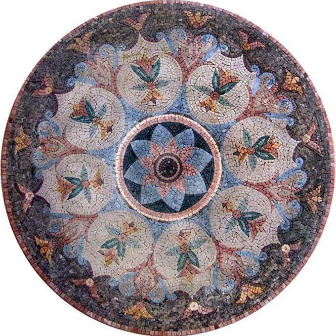 Western Inlay Floor Tile Circular Design : Circular entry tile designs roman mosaic art natural
