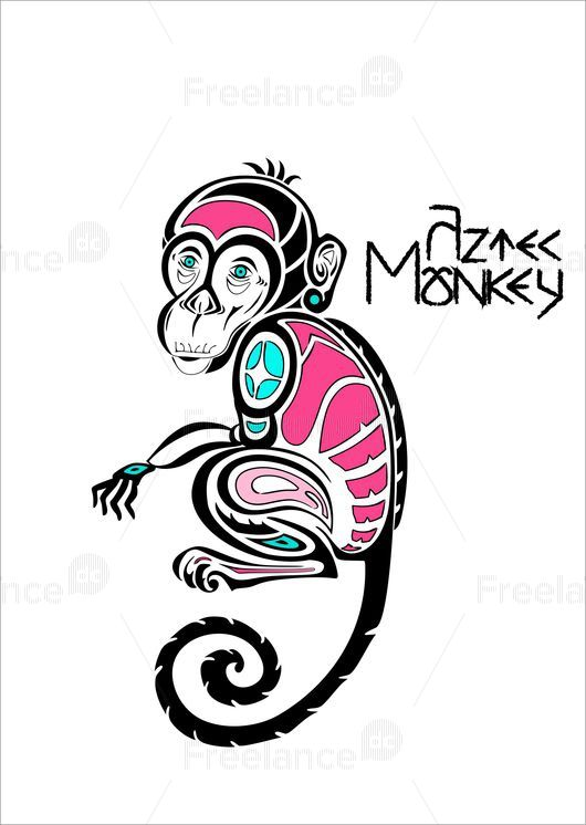 A monkey. Aztecs. The idea of a tattoo. #tattoo #ideatattoo #monkey #monkeytattoo #colortattoo #graphic #freelancediscount  Buy Image for $ 3