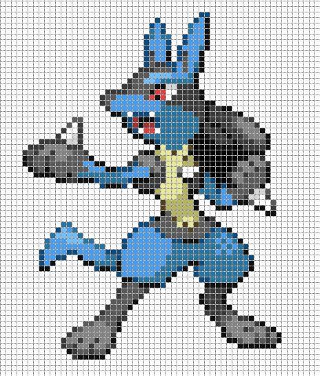 mega lucario pixel art template