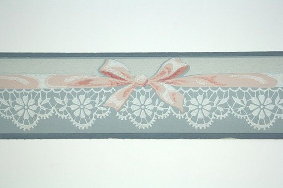Full Vintage Wallpaper Border TRIMZ Pink and by FondlyVintage, $15.00