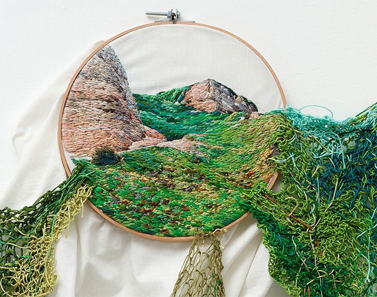 Using embroidery, yarn, and and wool artist Ana Teresa Barboza creates landscapes and other imagery that exists in the space between tapestry and sculpture. Mimicking the flow of waves or grass, each piece seems to tumble from its embroidery hoop where it flows down the gallery wall. Most of the