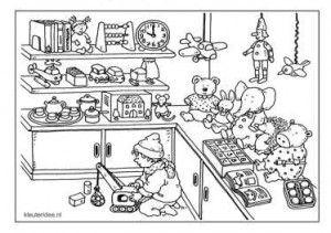 Speelgoedwinkel, kleurplaat kleuters, Dagmar Stam, groep 1 en groep 2