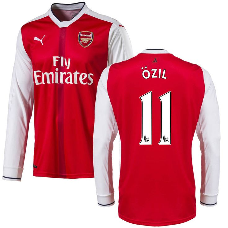Mesut Ozil Arsenal Puma 2016 Home Replica Long Sleeve Jersey - Red