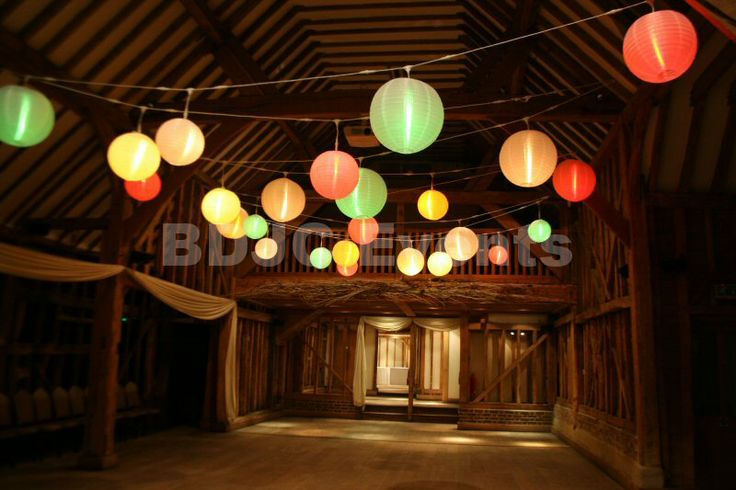 Lit Paper Lantern Canopy hire service in Hertfordshire, transform your Wedding venue with lit paper lanterns in Bedfordshire  #bdjcevents #eventlighting #partylighting #venuedressing #ledtablecentres #paperlanterncanopy