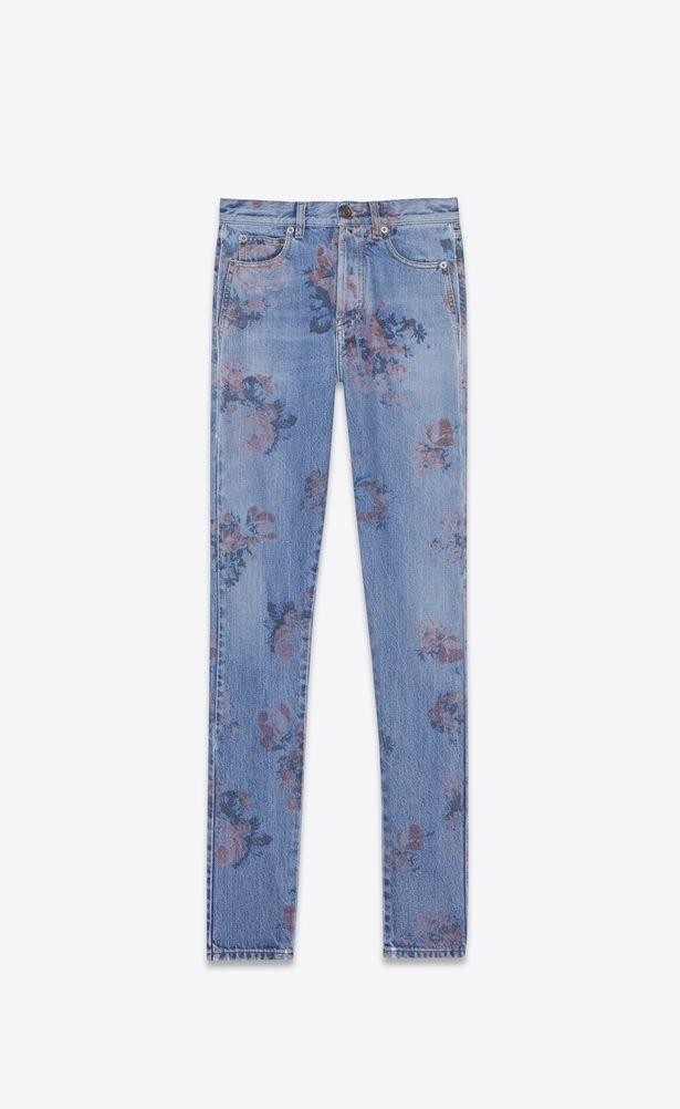 63b3ae5d SAINT LAURENT Slim fit Woman Tight slim jeans in faded blue denim ...