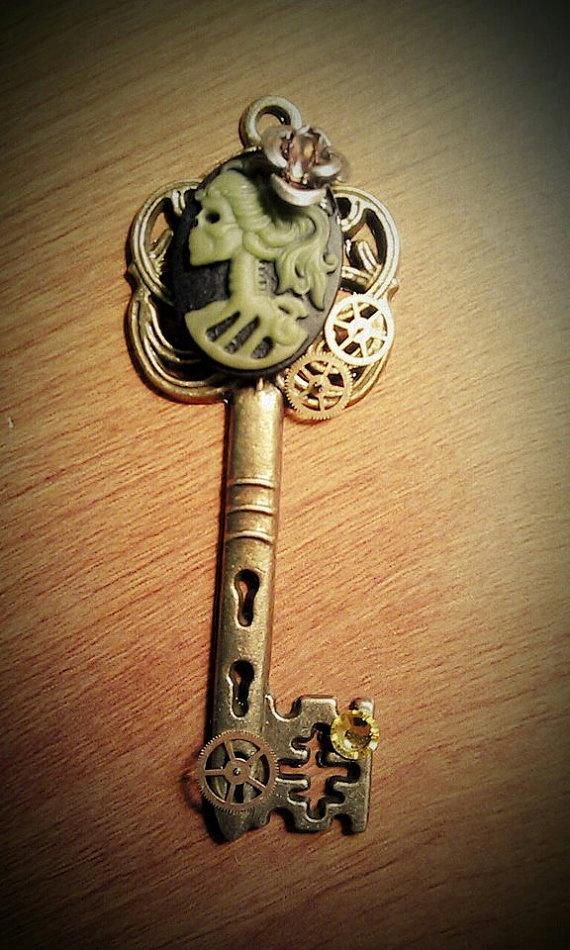 MissSkeleton Cameo Fantasy Key by DarkWolfJewelry on Etsy, $15.00