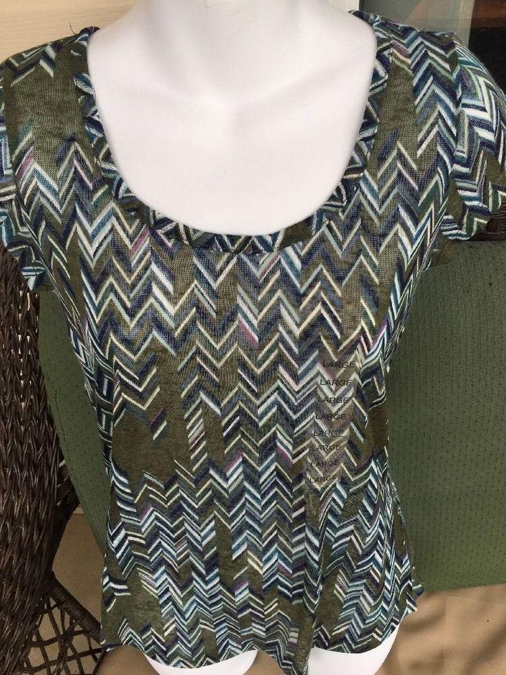 W.F. Women's SUPER SOFT - STITCH FIX - KNIT T SHIRT Chevron TOP Sz L large #wf #knit
