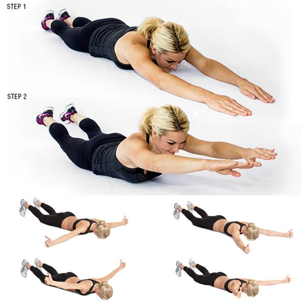 Lie on your stomach on the floor, or balance on a physio ball, holding 3-pound dumbbells in each hand. Engage your back and lift the chest a little. Then, move arms up and out into a T position, release, move into a Y position, release, and then move them into an I, arms touching out straight above your head. This is a great one for the rear delt, which is an important posture muscle, Stokes notes. Most people are very weak here, so use a super-light weight for this one.