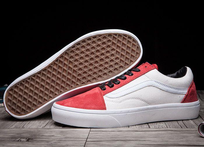 Vintage Vans Old Skool Skate Shoes Red Beige For Sale  Vans  5e6ce346c