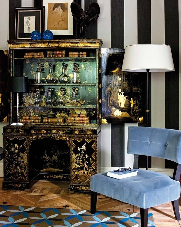 Living Room Asian Influences Exotic Decor Blue Chair
