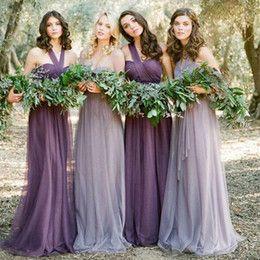 Discount Different Halter Bridesmaid Dress Greecian Purple Different Shades Bridesmaid Dresses Chiffon One Shoulder Straps Vestidos Da Dama de Honra Open Back