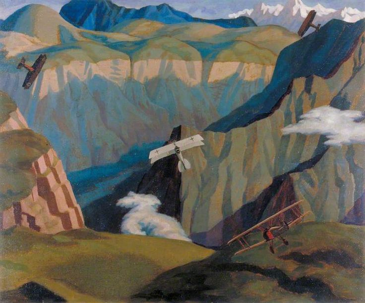 The Destruction of an Austrian Machine in the Gorge of the Brenta Valley, Italy by Sydney William Carline, 1918.