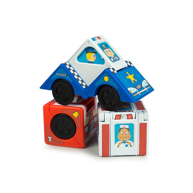 Vroom Blox and thousands more of the very best toys at Fat Brain Toys. Grab onto the corners near the wheels of each cube and pull them apart one by one - Click, swish, snap, WOW! - They suddenly transform into three fast-rolling rescue vehicles! Imaginative play is always on a roll.