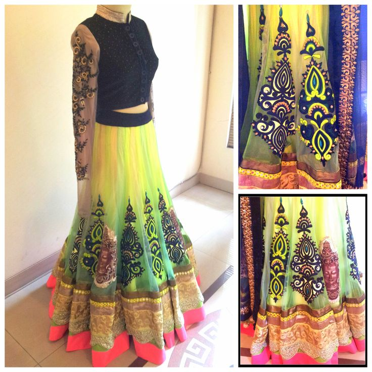 Neon Lehenga with Applique embroidery