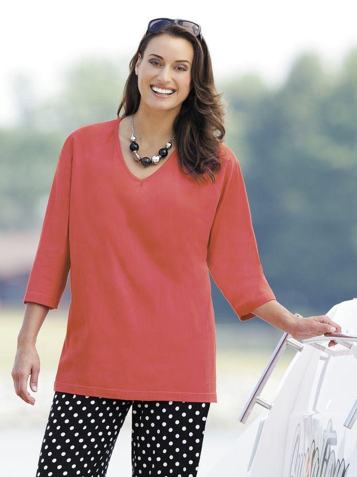 Women's #PlusSize 3/4 Raglan Sleeve Knit #Tee