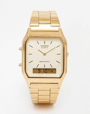 Casio   Casio A168WG-9EF Gold Plated Digital Watch at ASOS