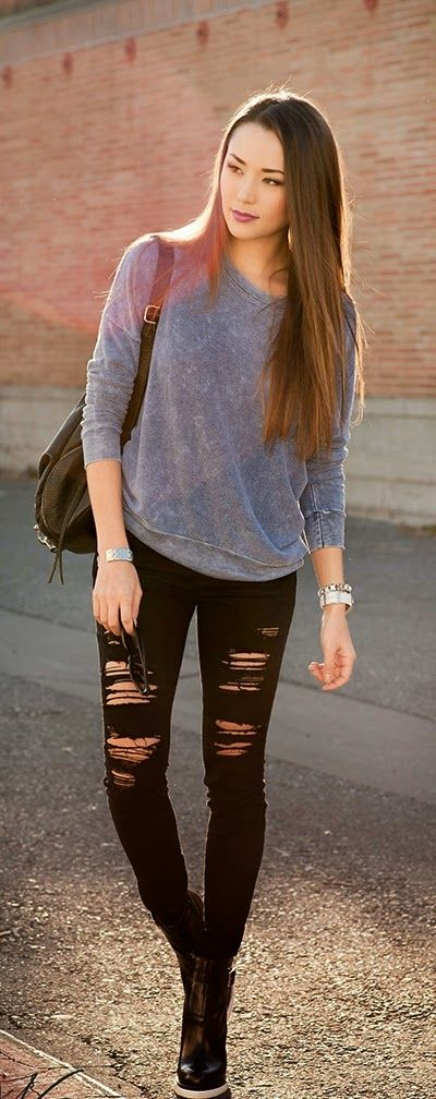 Black Ripped Skinnies Jeans , Heeled Up Booties by Hapa Time
