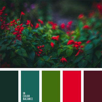 Alina Góndareva, burdeos, burdeos y rojo, combinación de colores contrastante, contraste, escarlata, esmeralda, esmeralda oscuro, rojo carmesí, rojo y verde, verde, verde oscuro, verde oscuro y burdeos.