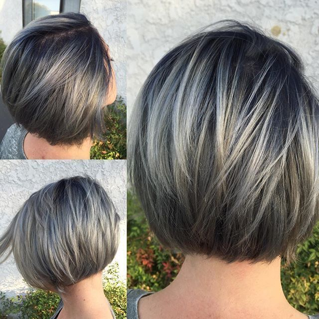 Picture end result for frosted hair for grey hair