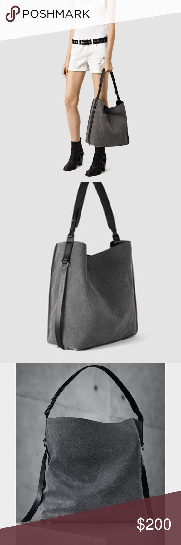 NWT Allsaints bag 💼 😜 Paradise north south bad. Color is grey with black leather straps. Looking to sell no trades !! Including dust bag. All Saints Bags Shoulder Bags