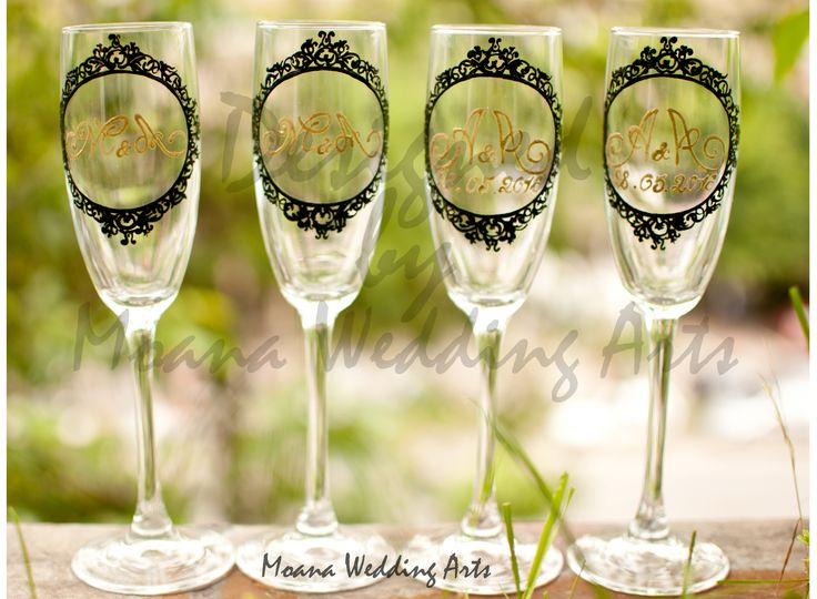 hand painted wedding glasees by moana wedding arts