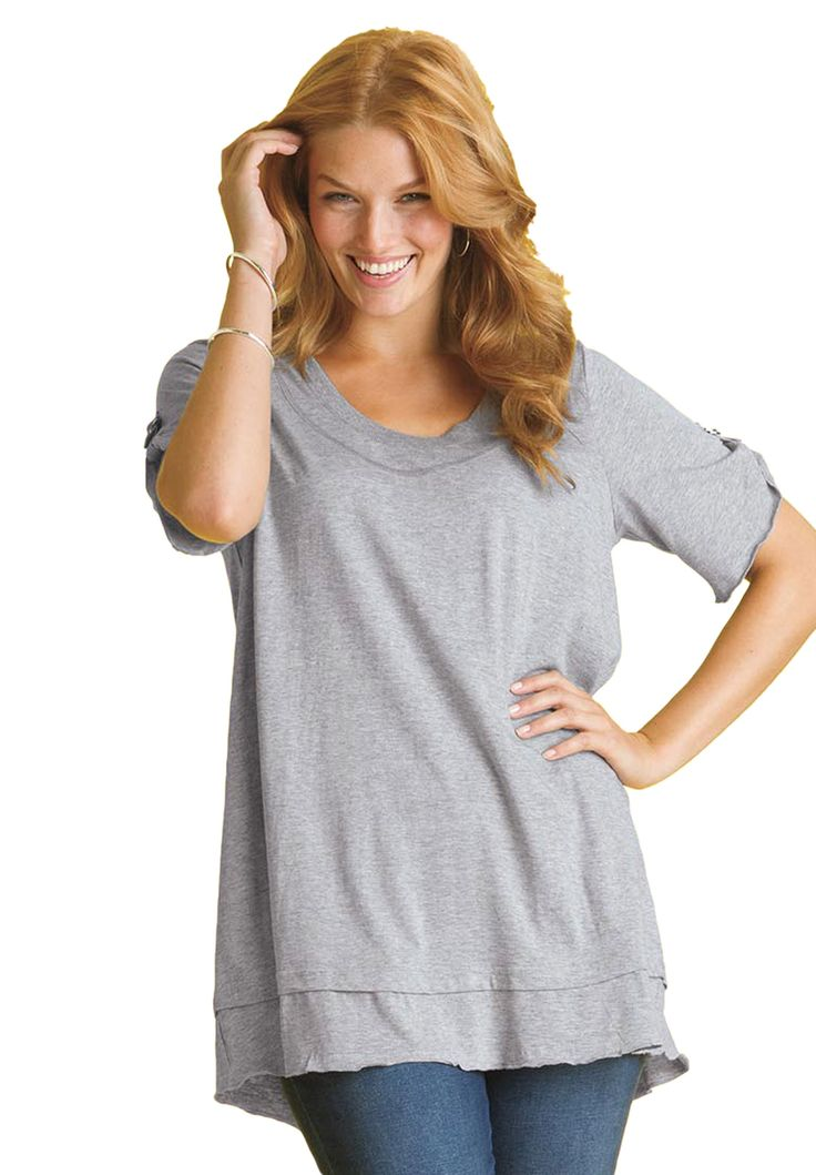 Top In Mega Tunic Knit With Layered Look Plus Size