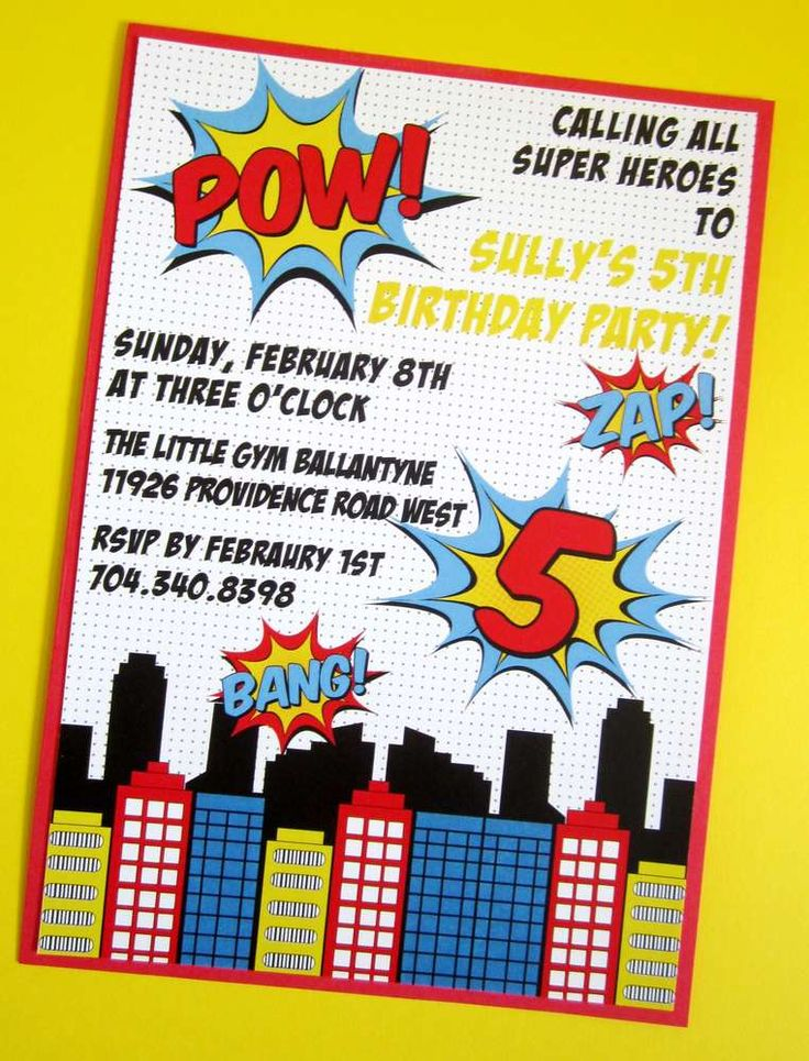 superhero party invites