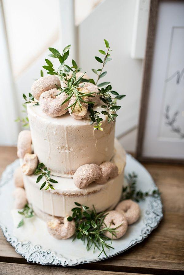 Cinnamon sugar donut wedding cake with greenery decoration