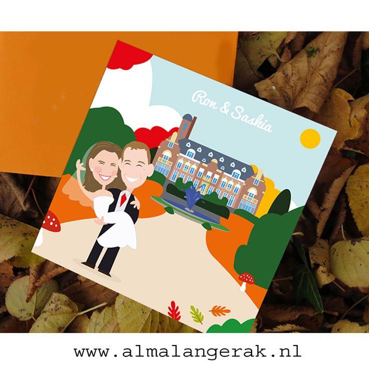 #trouwen #kasteel hooge vuursche #herfst #trouwkaarten #cartoon #maatwerk #portret #custom #wedding #invites #portrait