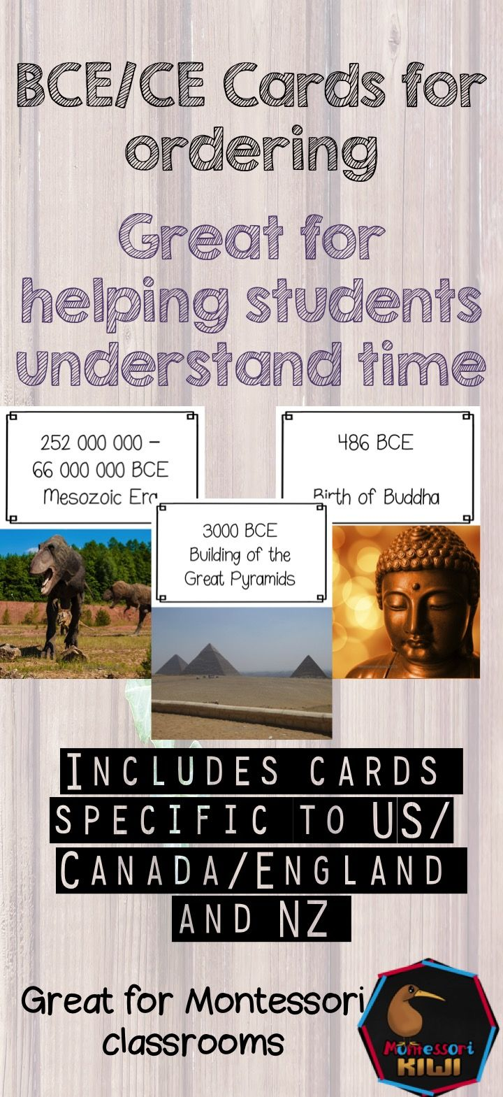 Timeline cards to help students order dates between BCE/BC and CE/AD. Letter sized pages each with a date, description and full color photograph. Perfect for Montessori follow up after the 'cradle' story of Jesus