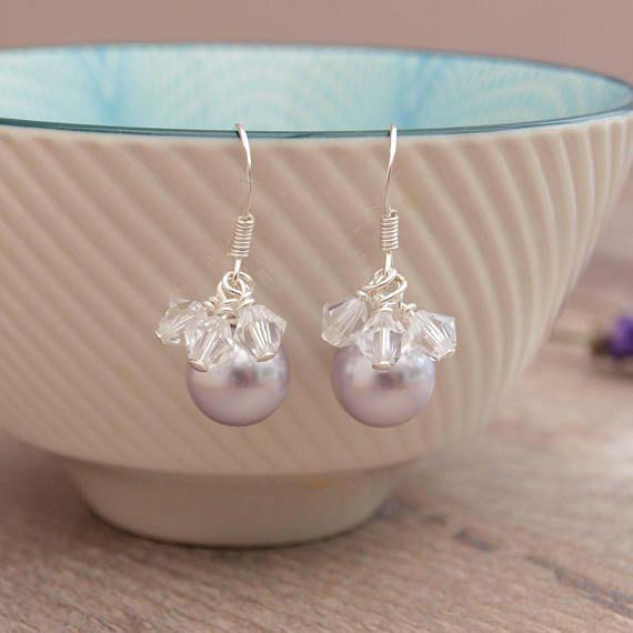 Lavender Pearl Bridal Earrings  Lilac Wedding Earrings  Pale