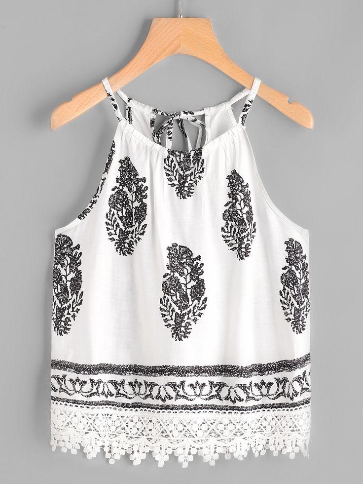 Shop Graphic Print Self Tie Back Lace Hem Cami Top online. SheIn offers Graphic Print Self Tie Back Lace Hem Cami Top & more to fit your fashionable needs.
