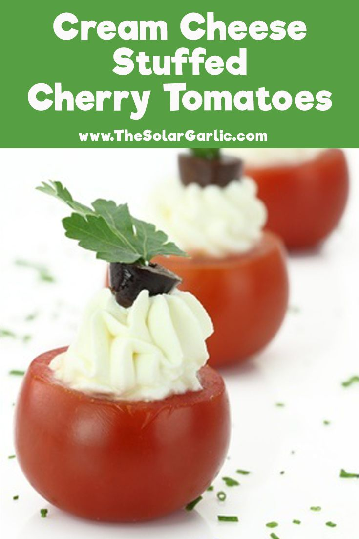 Awesome appetizer recipe for Cream Cheese Stuffed Cherry Tomatoes. Be the star at your next party or event!