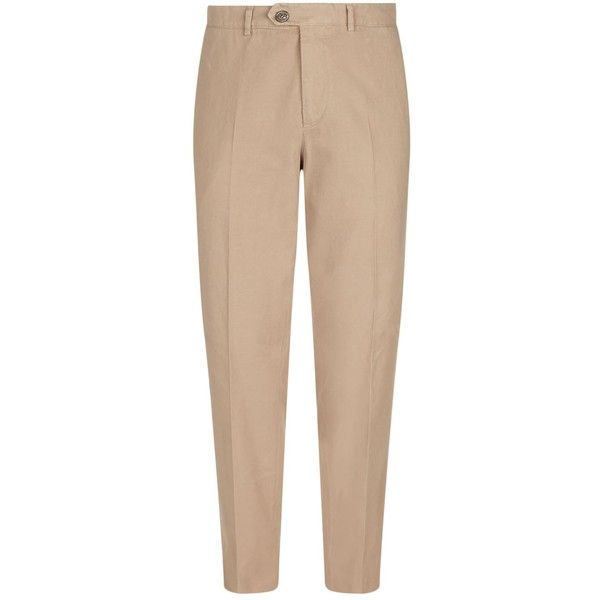 Brunello Cucinelli Cotton Chinos ($650) ❤ liked on Polyvore featuring men's fashion, men's clothing, men's pants, men's casual pants, mens slim fit chino pants, mens chinos pants, brunello cucinelli mens pants, mens slim pants and mens chino pants