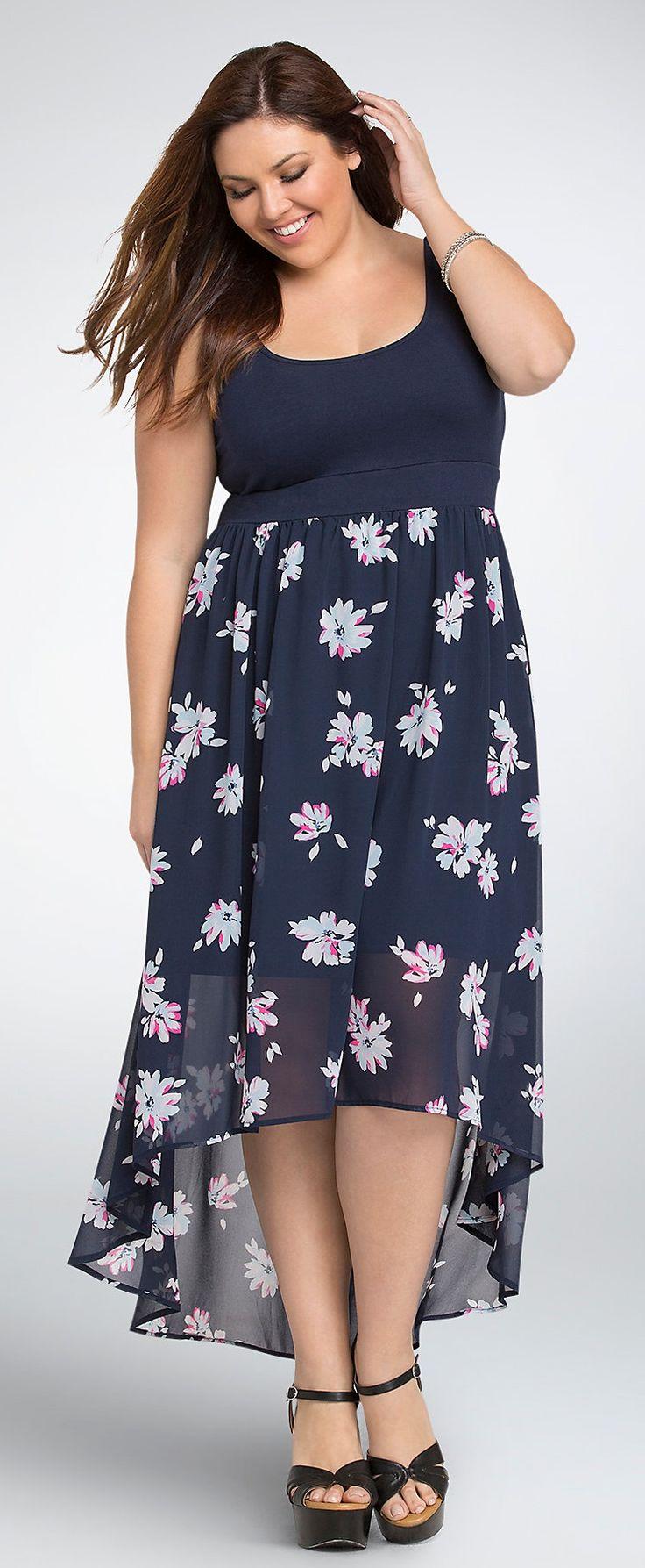 Plus Size Floral Hi-Lo Maxi Dress